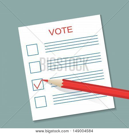 Voting concept picture. Blank ballot and a pencil. Vector illustration