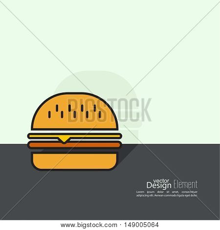 Hamburger icon on background. Fast Food. Calories and fatty foods. minimal.  Burger