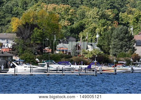 LAKE GEORGE, NY - SEP 24: View of Lake George from the Village, in New York State, as seen on Sep 24, 2016. The lake lies within the upper region of the Great Appalachian Valley and drains all the way northward into Lake Champlain and the St. Lawrence Riv