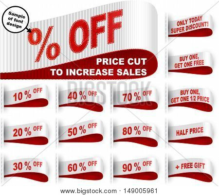 Clothes labels with percentage of price cuts and marketing phrases; Discount today only; Buy one get one free gift; Half price; 10; 20; 50; % off; White red vector set Eps10