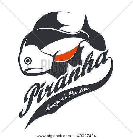 Vintage piranha old grunge effect tee print vector design. Web graphics stylized banner.
