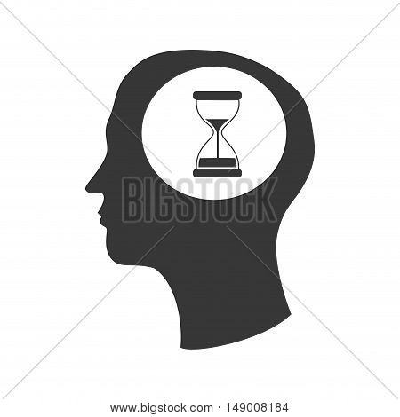 human head profile with sand clock icon silhouette. vector illustration