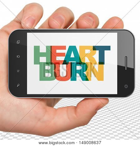 Healthcare concept: Hand Holding Smartphone with Painted multicolor text Heartburn on display, 3D rendering