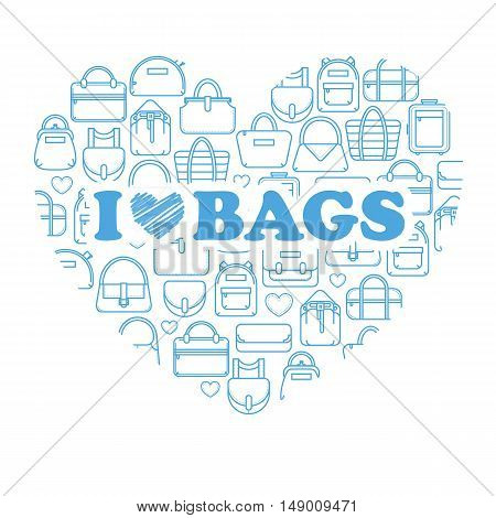 I love bags, fashion bag line icons in a heart form, vector illustration isolated on white background. Heart of thin line fashion bag icons with i love bags label