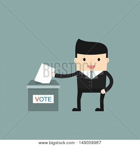 A man putting voting paper in ballot box. People vote. Vector illustration