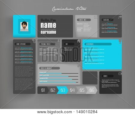 Creative curriculum vitae template with tiles. Vector art