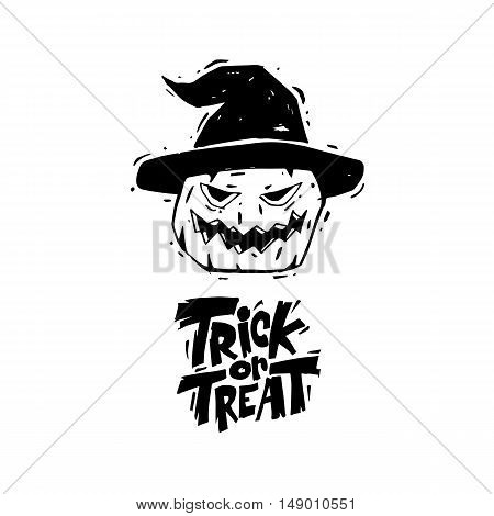 Happy halloween poster, banner, flyer. Pumpkin. Lettering, lino-cut. Halloween party. Flat design vector illustration.
