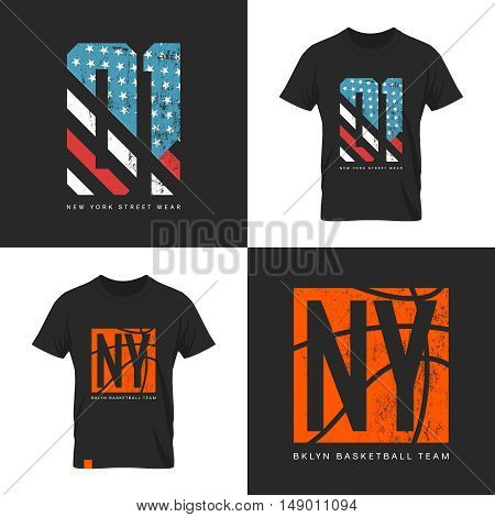 Vintage American flag and basketball old grunge effect tee print vector design. Premium quality superior sport number retro logo concept. New York street wear t-shirt emblem.