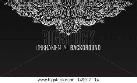 Business Card beautiful mandala ornament. Arabic and Indian style. Design template, banner, discount for clothing, electronics, games, furniture, cars, online shopping Vector illustration