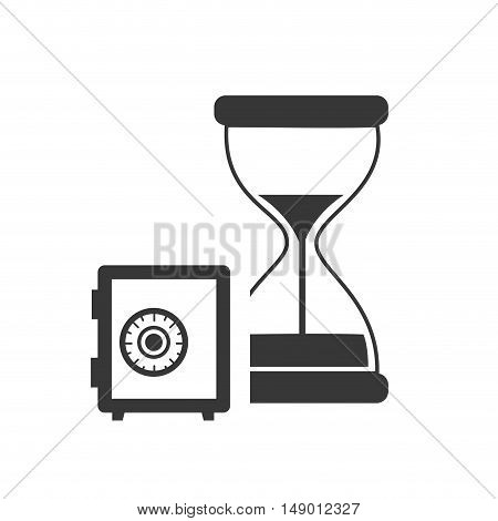 hourglass or sandclock with safebox icon silhouette. vector illustration