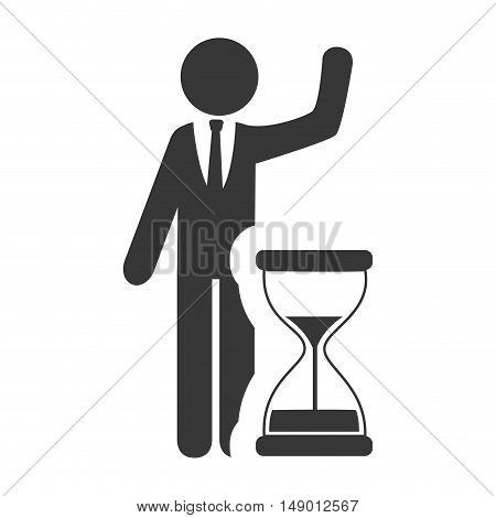 hourglass or sandclock with business man icon silhouette. vector illustration