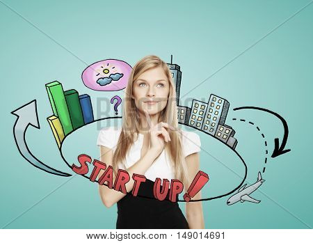 Pondering young businesswoman with abstract startup sketch on greenish background. Entrepreneurship concept