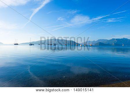 Beautiful blue seascape with ships Marmaris