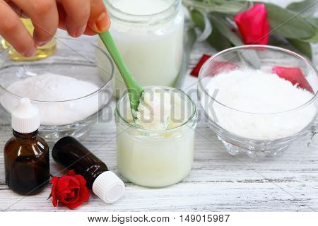Stirring of antibacterial homemade deodorant which is made from coconut oil sodium bicarbonate starch and essential oil