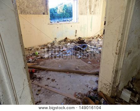 Old abandoned house interior, old damaged house