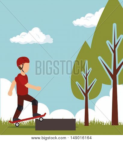 man training skateboarding extreme sport with park background. colorful design. vector illustration