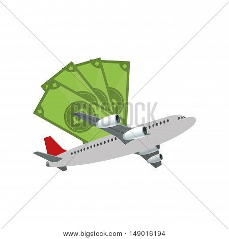 flat design money bills and airplane  icon vector illustration