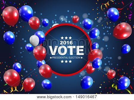 Presidential Election Vote 2016 in USA Background. Can Be Used as Banner or Poster. Vector Illustration EPS10
