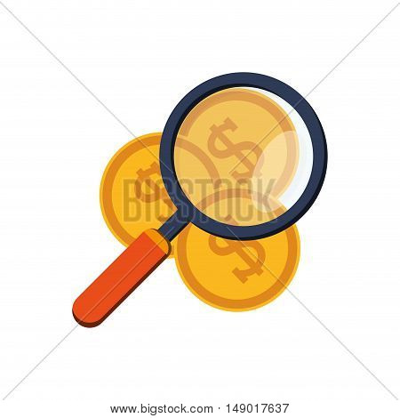 flat design money coins  and magnifying glass icon vector illustration