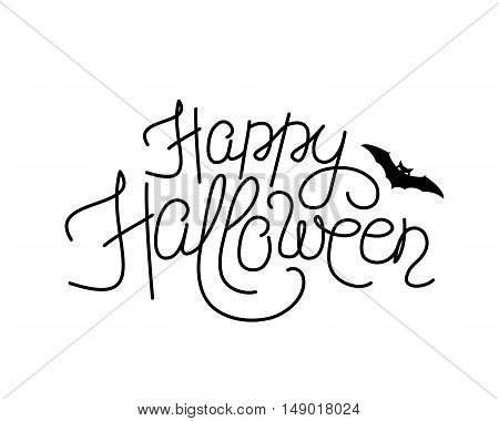 Vector illustration of happy halloween lettering sign. Thin line happy halloween script text with bat silhouette. Halloween greeting template with flittermouse. Hand Drawn invitation in line style