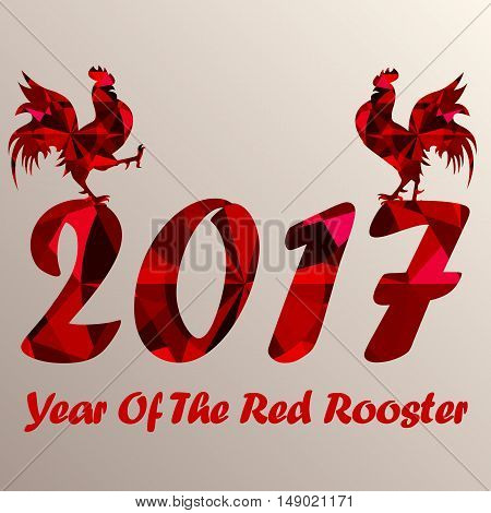 Two red roosters at the top of number 2017 as symbol of next year on the Chinese calendar. Silhouettes of red cocks decorated with ruby on background. Vector element for New Year card or other design
