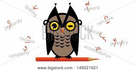 Owl proofreader with a red pencil and words with error corrections
