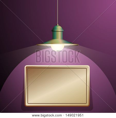 Ancient bronze lamp hanging on the wire. Big and empty bronze plate illuminated on the purple wall. Vector illustration of lighting.