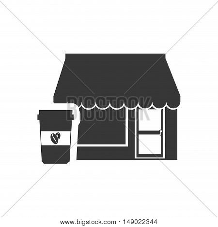 store bakery commerce building with coffee cup icon silhouette. vector illustration