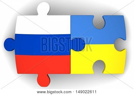 Cooperation between the Russian Federation and Ukraine. Puzzles with flags of the Russian Federation and Ukraine on a white surface. The concept of coincidence of interests in geopolitics. Isolated. 3D Illustration