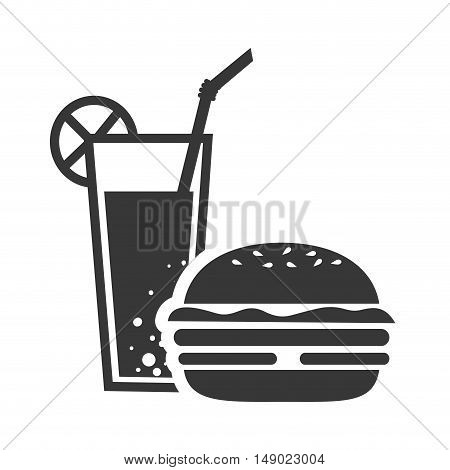 american burger fast food and soda drink icon silhouette. vector illustration