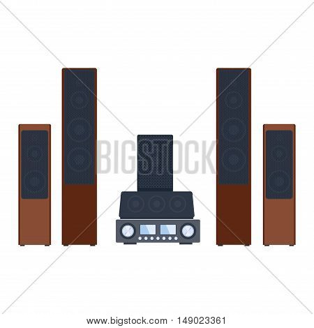Home sound system. Home stereo flat vector music systems for music lovers. Loudspeakers player receiver subwoofer remote music systems for listening to music. Loudspeakers stereo equipment technology.