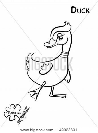 Children's coloring book that says Paint me.Duck