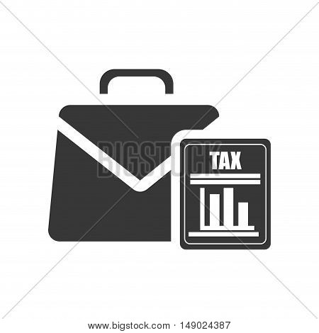 business briefcase accessory with document tax icon silhoutte. vector illustration