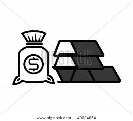 gold bars block with money sack icon silhouette. vector illustration