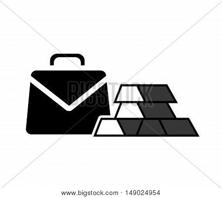 business briefcase accessory with gold bars icon silhoutte. vector illustration
