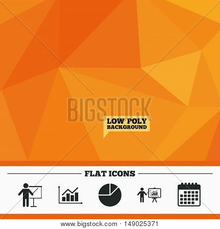 Triangular low poly orange background. Diagram graph Pie chart icon. Presentation billboard symbol. Supply and demand. Man standing with pointer. Calendar flat icon. Vector