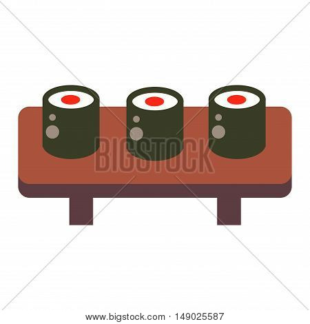 Sushi rolls icons food and japanese seafood sushi rolls. Sushi rolls traditional seaweed fresh raw food. Asia cuisine restaurant delicious. Sushi roll chine or japan selective food vector.
