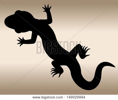 Lizard. The black silhouette of a reptile. Vector illustration.