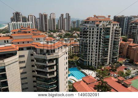 Newly Developed Condominium Buildings in Highly Americanized Barra da Tijuca District in Rio de Janeiro, Brazil