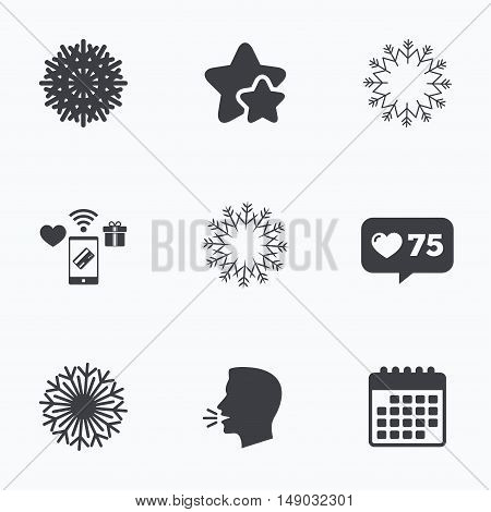 Snowflakes artistic icons. Air conditioning signs. Christmas and New year winter symbols. Frozen weather. Flat talking head, calendar icons. Stars, like counter icons. Vector