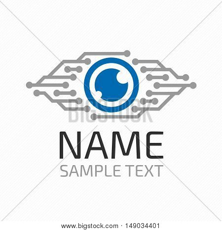Cyber eye symbol vector icon or cyber logo concept. Modern media icon. Vision Logotype concept.