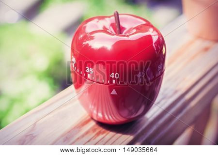 40 Minute Kitchen Egg Timer In Apple Shape Standing On A Handrail