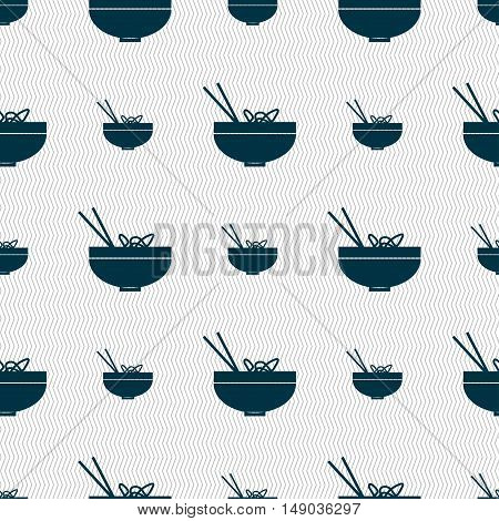 Spaghetti Icon Sign. Seamless Pattern With Geometric Texture. Vector