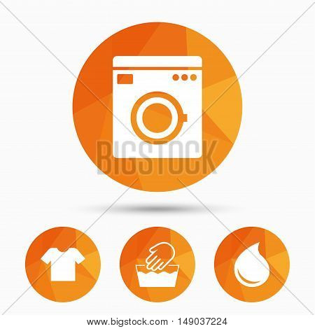 Wash machine icon. Hand wash. T-shirt clothes symbol. Laundry washhouse and water drop signs. Not machine washable. Triangular low poly buttons with shadow. Vector
