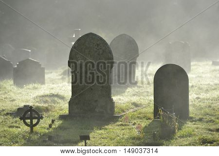 Misty grave yard crosses and graves backlit