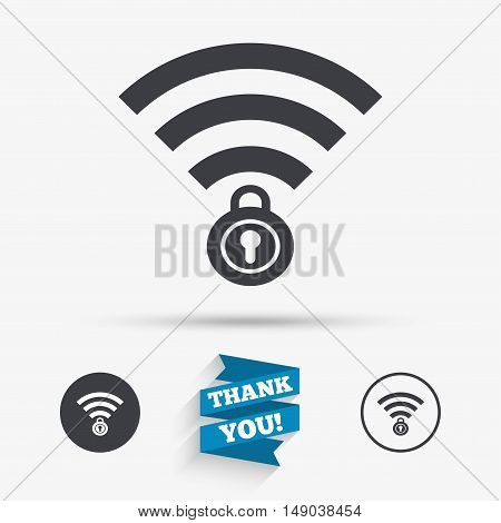 Wifi locked sign. Password Wi-fi symbol. Wireless Network icon. Wifi zone. Flat icons. Buttons with icons. Thank you ribbon. Vector