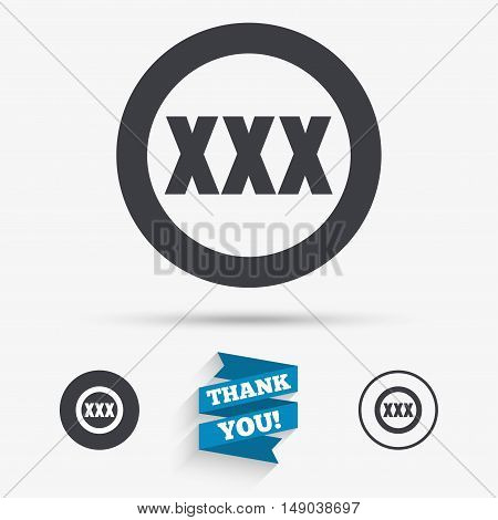 XXX sign icon. Adults only content symbol. Flat icons. Buttons with icons. Thank you ribbon. Vector