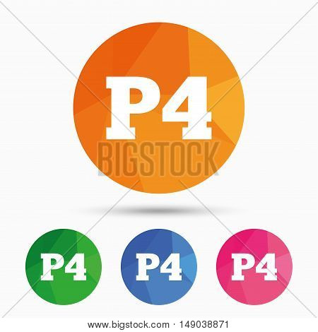 Parking fourth floor sign icon. Car parking P4 symbol. Triangular low poly button with flat icon. Vector poster