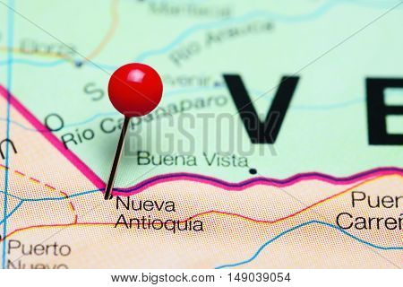 Nueva Antioquia pinned on a map of Colombia