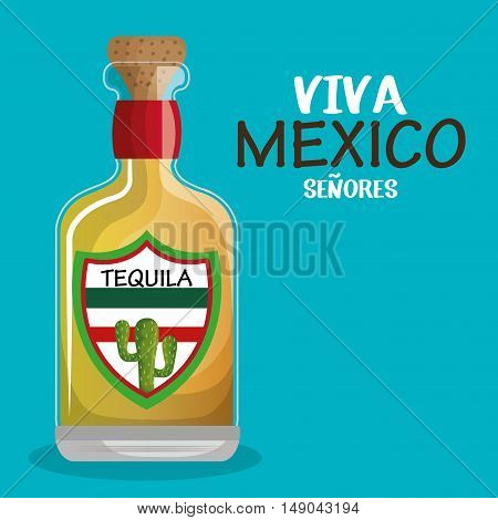 bottle tequila drink mexican isolated vector illustration eps 10